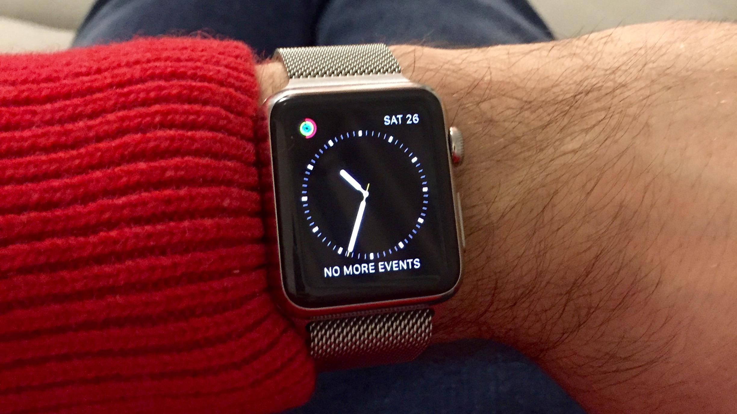 Wearing the Apple Watch with Milanese Loop on Boxing Day