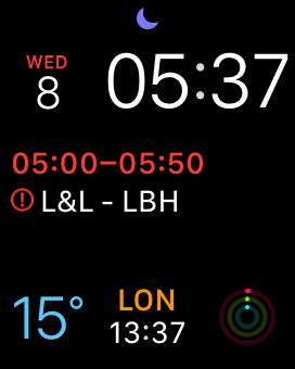 Modular watch face on Apple Watch