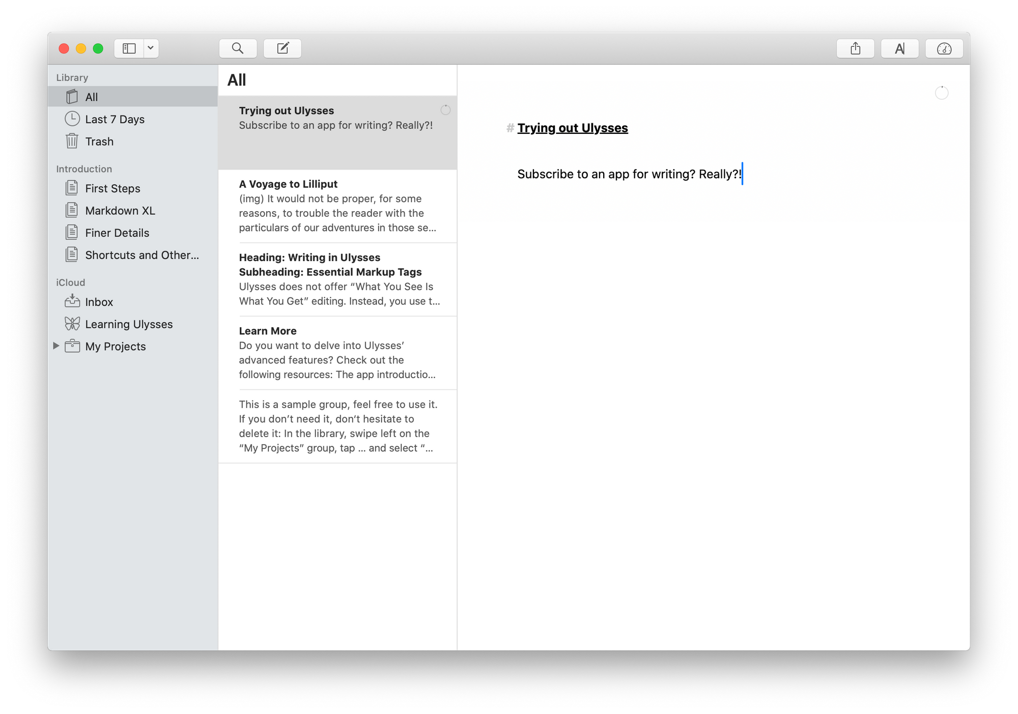 Screenshot of Ulysses on Mac